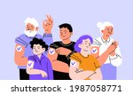 big vaccinated family portrait. ... | Shutterstock .eps vector #1987058771