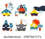 vector illustration  meditation ... | Shutterstock .eps vector #1987067171
