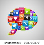 glass button icon speech bubble ... | Shutterstock . vector #198710879