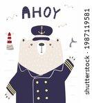 cute funny bear sailor  captain ...   Shutterstock .eps vector #1987119581
