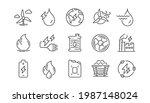 Energy Types Line Icons. Coal...