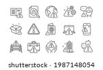 warnings line icons. caution...   Shutterstock .eps vector #1987148054