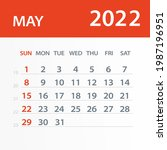 may 2022 calendar leaf   vector ... | Shutterstock .eps vector #1987196951
