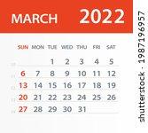 march 2022 calendar leaf  ... | Shutterstock .eps vector #1987196957