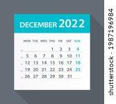 december 2022 calendar green... | Shutterstock .eps vector #1987196984