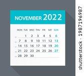 november 2022 calendar green... | Shutterstock .eps vector #1987196987