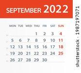 september 2022 calendar leaf  ... | Shutterstock .eps vector #1987197071