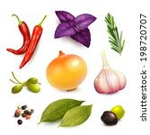 herbs and spices decorative...   Shutterstock .eps vector #198720707