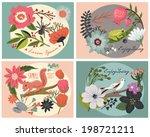 flower greetings card | Shutterstock .eps vector #198721211