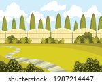 patio area with green lawn ...   Shutterstock .eps vector #1987214447