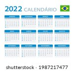 2022 calendar   vector template ... | Shutterstock .eps vector #1987217477