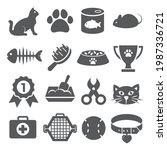 cat icons set on white...   Shutterstock .eps vector #1987336721