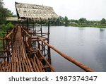 Wooden Bridge Over The River ...