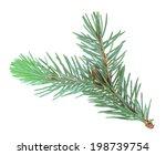 single branch of blue fur tree. ... | Shutterstock . vector #198739754