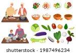 people cooking vegetarian meals....   Shutterstock .eps vector #1987496234