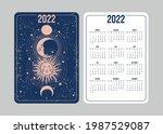 boho tarot calendar for 2022 in ... | Shutterstock .eps vector #1987529087