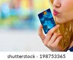 woman holding credit card near... | Shutterstock . vector #198753365