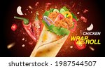 spicy fried chicken wrap and... | Shutterstock .eps vector #1987544507