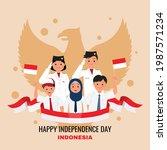 indonesian students celebrate... | Shutterstock .eps vector #1987571234