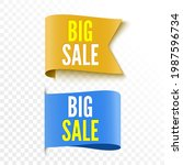 two sale tags. orange and blue...   Shutterstock .eps vector #1987596734
