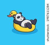 cute panda relax on duck tires... | Shutterstock .eps vector #1987611284