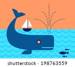 whale in the ocean swimming...   Shutterstock .eps vector #198763559