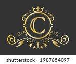 golden stylized letter c of the ...   Shutterstock .eps vector #1987654097