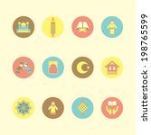 islamic icon set on colorful... | Shutterstock .eps vector #198765599