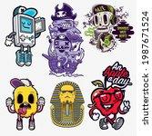 collection of cartoon... | Shutterstock .eps vector #1987671524