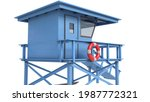 A Blue Lifeguard Tower Isolated ...
