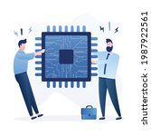 semiconductor and computer chip ... | Shutterstock .eps vector #1987922561