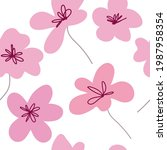 floral graphic scribble design. ... | Shutterstock .eps vector #1987958354