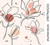 hand drawn magnolia flower.... | Shutterstock .eps vector #1987964231