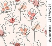 hand drawn magnolia flower.... | Shutterstock .eps vector #1987964234