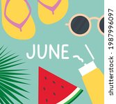 june word made with sun... | Shutterstock .eps vector #1987996097