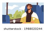 young passenger traveling by... | Shutterstock .eps vector #1988020244