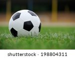 close up soccer ball on green... | Shutterstock . vector #198804311