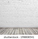 Old White Brick Wall And Wood...