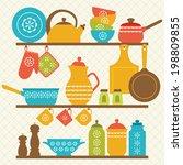 retro kitchen shelves design. | Shutterstock .eps vector #198809855