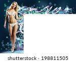 young pretty woman with blank...   Shutterstock . vector #198811505