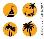 summer silhouette  palm tree on ...   Shutterstock .eps vector #1988166347