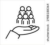 employees on human hand line... | Shutterstock .eps vector #1988188364