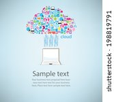 notebook angel wings social... | Shutterstock .eps vector #198819791