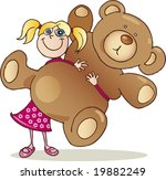 cute girl with big teddy bear | Shutterstock .eps vector #19882249