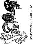 skull with snake tattoo cobra... | Shutterstock .eps vector #198830165