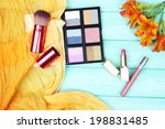 eyeshadow  brushes  lipstick... | Shutterstock . vector #198831485