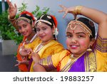 AUCKLAND - OCT 16, 2006.  Young performers pose as they participate in the annual Diwali Festival at Auckland's Britomart Centre on Oct 16, 2006 in Auckland, NZ. Hindus celebrate the event globally. - stock photo