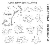 set of 12 floral zodiac signs... | Shutterstock .eps vector #1988334854