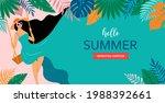 summer scene  young woman... | Shutterstock .eps vector #1988392661