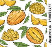 seamless pattern with mango ... | Shutterstock .eps vector #1988555174